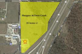 Shoppes at Dove Creek retail pad site for lease aerial