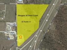 Shoppes at Dove Creek retail pad site for lease Durant, OK aerial