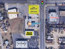 NW 63rd & MacArthur Blvd retail pad site available to lease aerial closeup